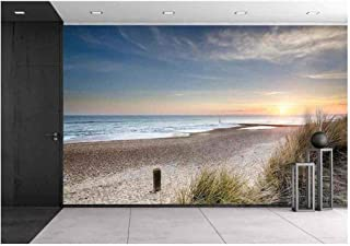 wall26 - Sunset in The Sand Dunes at Hengistbury Head Near Bournemouth in Dorset - Removable Wall Mural   Self-Adhesive Large Wallpaper - 66x96 inches