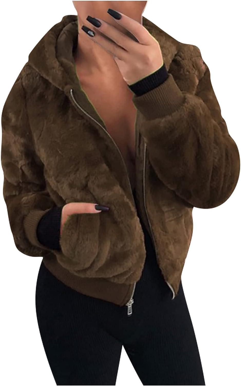 Ymosrh Women's Sherpa Jacket Casual Lapel Fleece Fuzzy Faux Shearling Zipper Teddy Coat Oversized Outwear