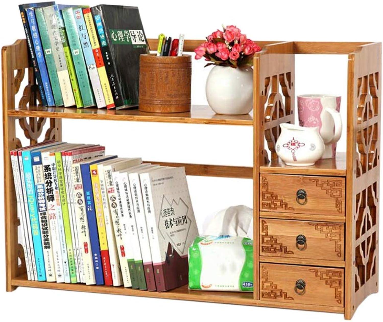 JCAFA Shelves Desktop Bookshelf Storage Rack Bamboo Desktop Manager Office Wooden Display Stand Openwork Window with Drawers, 3 Sizes (Size   23.62  9.84  19.68in)