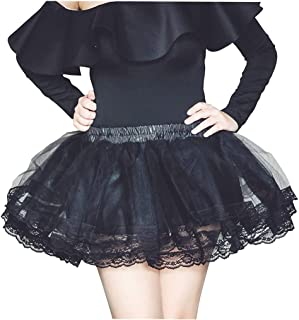Remanlly Women's Fashion High Waist Pleated Solid Color Tulle Tutu Skirt Lady Skirt