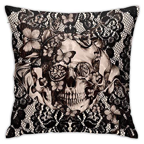 phjyjyeu Fundas de almohada decorativas de encaje gótico victoriano vintage con diseño de calavera, color negro, 45,72 x 45,72 cm