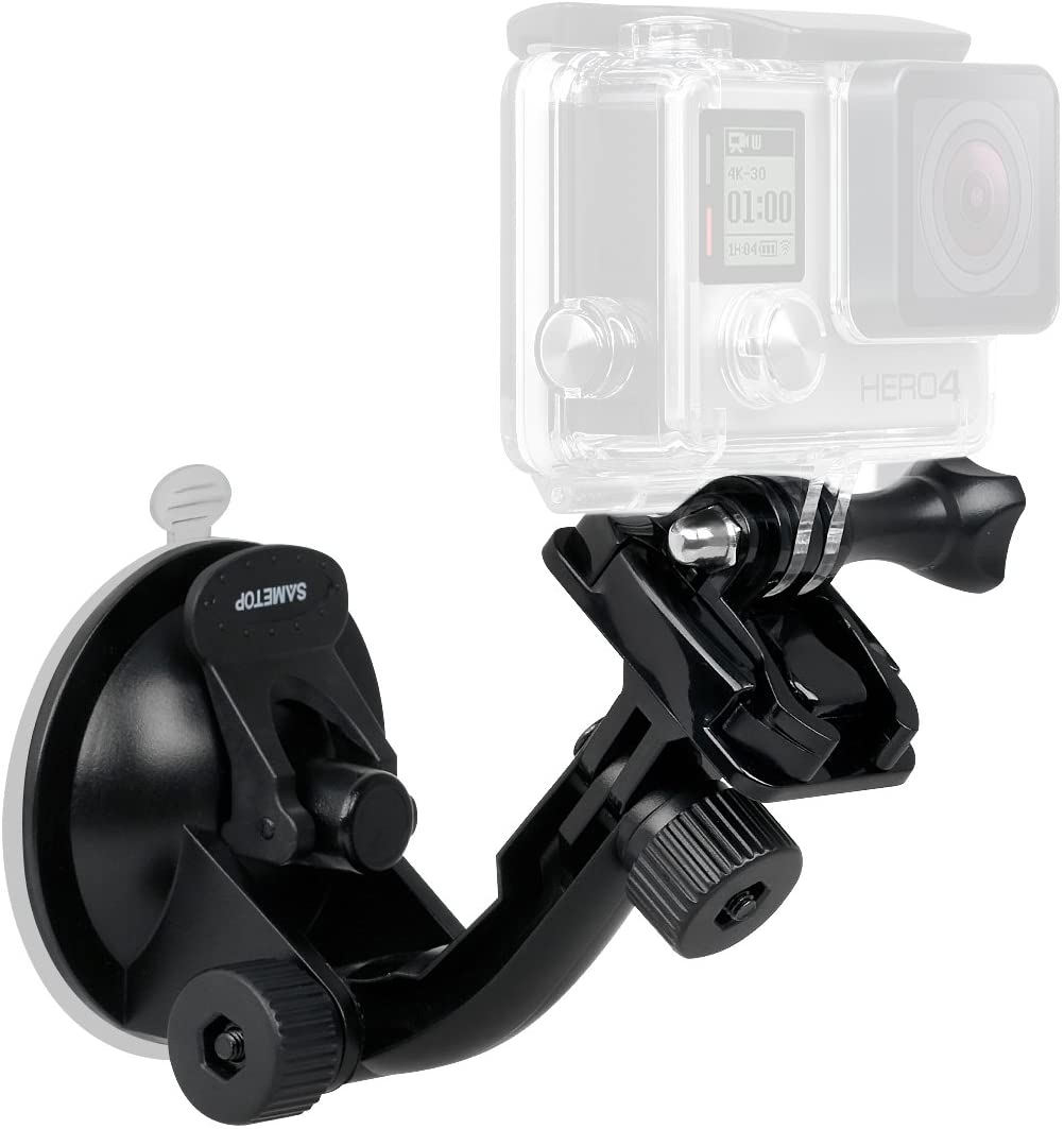 Sametop Suction Cup Mount Compatible with Gopro Hero 9, 8, 7, 6, 5, 4, Session, 3+, 3, 2, 1, Hero (2018), Fusion, DJI Osmo Action Cameras; Perfect for Car Windshield and Window