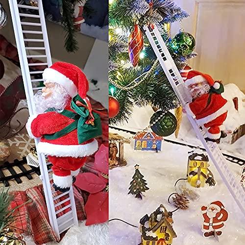U/D Santa Claus Escalera de Escalada eléctrica, Juguete eléctrico de la Que Sube de Papá Noel,Campanas Musicales eléctricas Escalera de Escalada Juguete de Papá Noel, Juguete de Adorno de estatuilla