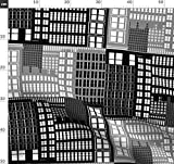 Geometrisch, Architektur, Stadt, Schwarz, Und, Weiß Stoffe