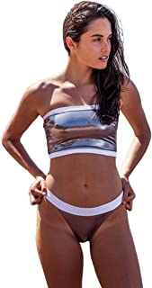 Womens Swimwear Sporty Metallic Bandeau Bikini High-Cut Legs Monokini Two Piece Swimsuits