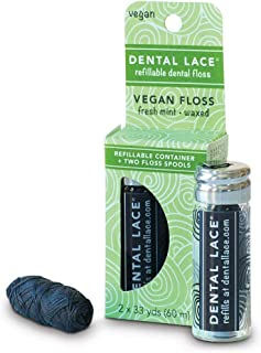 Dental Lace | Vegan Dental Floss | Bamboo Charcoal floss inside the same great refillable container | Includes 1 Refillable Recyclable Glass Dispenser and 2 Floss Spools | 66 yards