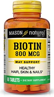 Mason Natural , Supplement, 800 Mcg Tablets, 60 Bottle, Dietary Supplement, Support and Strengthens Healthy Hair and Nails...