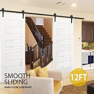 Yaheetech 12 Feet Sliding Barn Door Closet Hardware Kit Set Antique Style for Double/Single Barn Doors Track Accessories System Heavy Duty Arrow J-sheped Roller Indoor/Outdoor Black
