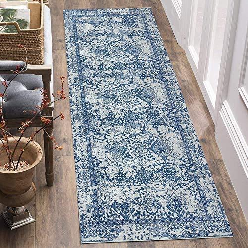 Tappeto passatoia 60 x 180 cm corridoio antiscivolo lavabile cucina motivo geometrico stampa 3D secondo le misure moderno camera da letto letto tappeto tappeto (blu 1)