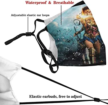 BOHONG Superhero Wonder Woman Face Cover Windproof Outdoor Men Mask Adjustable Elastic Strap Washable Reusable