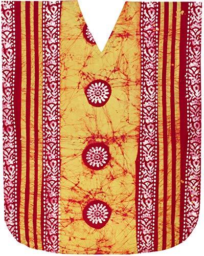 LA LEELA Mujeres Caftán Algodón túnica Batik Kimono Libre tamaño Largo Maxi Vestido de Fiesta para Loungewear Vacaciones Ropa de Dormir Playa Todos los días Cubrir Vestidos Amarillo_Y3