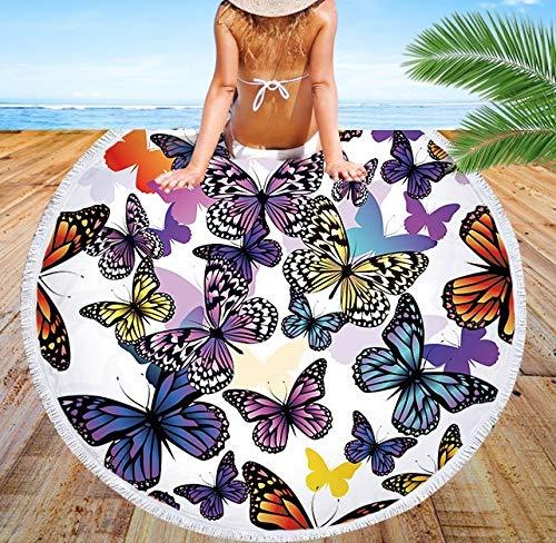 EARENDEL Schnell Trocknend Runde Strandtuch Badetuch Schmetterling Bunter Verträumter Reise Decke Schmetterling Roundie Tapisserie Strand Bad Werfen Yoga Camping Im Freien Kissen Matte Tischtuch