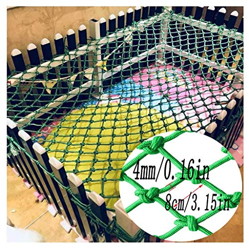 Child Protection Net Safety Protection Climbing Woven Rope Truck Cargo Trailer Decoration Net Children's Toys Pet Safety Indoor Railing Stairs Playground Outdoor Terrace Balcony Green (Size : 2x4m)