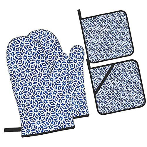 YOLIKA Batik Watercolor Artistic Blue And White Ethnic Boho Style,4Pcs Oven Mitts and Pot Holders Sets,High Heat Resistant Kitchen Oven Gloves with Non-Slip Hot Pads for Cooking,Baking,Grilling