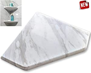 "EZ-Mount Marble Shower Corner Shelf - Wall Attached 8"" Soap Dish with Install KIT - (Volakas White EZ-XD) Floating Stone Bathroom Caddy - Shampoo Holder"