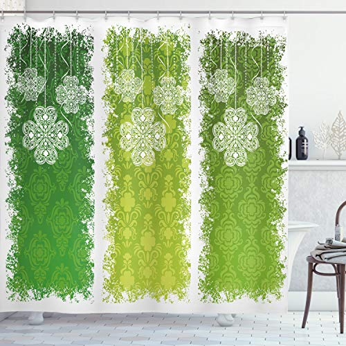 """Ambesonne Irish Shower Curtain, Aged Vintage Antique on Green Toned Color Bands Celtic Historic Lace Image, Cloth Fabric Bathroom Decor Set with Hooks, 75"""" Long, Green White"""
