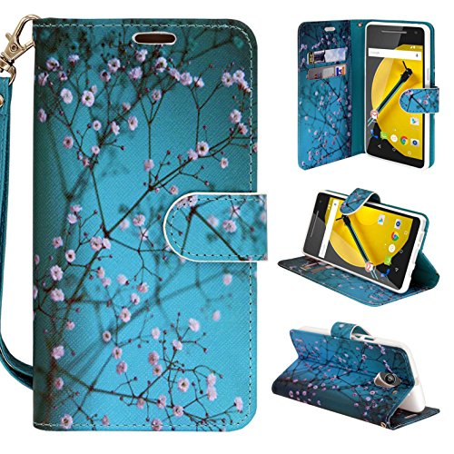 Moto G4 Play case Moto E3 Case, Moto E 3rd Gen Case, Customerfirst Design Premium PU Leather Wallet Pouch Case for Motorola Moto E (3rd Generation) FREE Emoji Keychain (Blossom Teal)