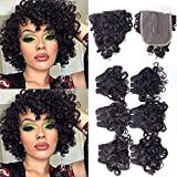 Brazilian Curly Wavy Hair Bundles Short Bob Curly Human Hair Bundles with T Part Closure 10A Ocean Weave 6 Bundles with Closure 25g/Bundle(8' 8' 8' 8' 8' 8'+8')Unprocessed Virgin Natural Hair Bundles