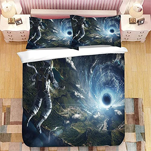 Juego de ropa de cama con impresión digital 3D, adecuada para niños y jóvenes, de fácil cuidado, 1 funda nórdica y 2 fundas de almohada (astronauta 3, 140 x 210 cm + 50 x 75 cm x 2)