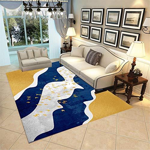 Kunsen Dormitorio Infantil Habitaciones Matrimonio Completas Alfombra Rectangular de la habitación para niños Cómodo y Suave de Oro Gris Azul. Alfombra Silla Ruedas 160X230CM 5ft 3' X7ft 6.6'