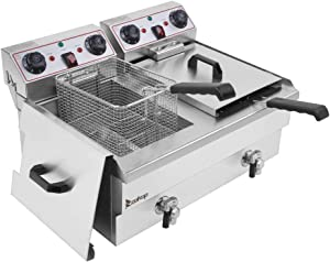 Heavy Duty Electric Stainless Steel Deep Fryer, With Basket (24.9QT/ 23.6L Oil Capacity)