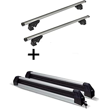 Porte-Skis Extensible Silver Ice Barres de Toit VDPLION1 Compatible avec Seat Ateca /à partir de 16 5 Portes