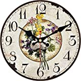 ShuaXin Wooden Small 6 Inch Colorful Flower Style Wall Clock,Large Numerals Classic Country Style Home Decorative Round Wall Clock for Kitchen,Bedroom