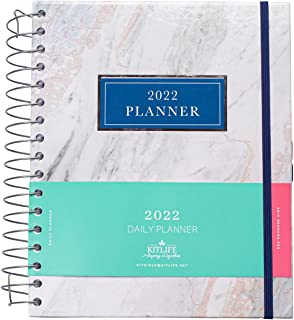 $29 » KITLIFE 2022 Keeping it Together Daily Planner | Chic Women's Planner with Monthly Calendar – Spiral Bound Hardcover Appoi...