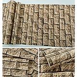Wallpaper_brick fondo de pantalla simulación retro tridimensional piedra antigua bar28401 / luz del día amarillo necesita comprar pasta de pegamento