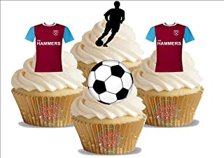 12 x West Ham FC NEW Soccer Mix - Choose From UNFLAVOURED or VANILLA-SWEETENED Toppers - Fun Novelty Birthday PREMIUM STAND UP Edible Wafer Card Cake Toppers Decorations