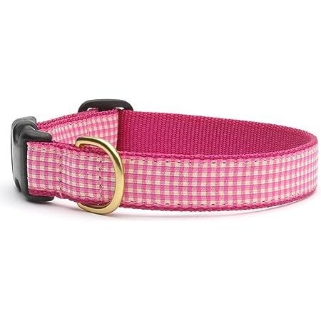 Fuchsia Diagonal Check Fabric Collar Pink and White Gingham Dog Collar Female Plaid Pet Neckwear