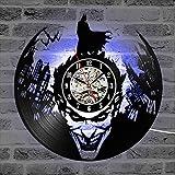 Cheemy Joint Hombre Murciélago Batman vs Joker Reloj de Pared LED de Vinilo de 12 Pulgadas, 7 Colores luz Nocturna Creativa Artesanías nostálgicas de Interior cumpleaños y Halloween. (A1-3 con LED)