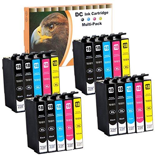 D&C 20er Set (B/C/M/Y) cartucce d'inchiostro (non originali) per Epson Expression Home XP-102,XP-202,XP-205,XP-212,XP-215,XP-225,XP-30,XP-302,XP-305,XP-312,XP-313,XP-315,XP-322,XP-325,XP-33 con chip