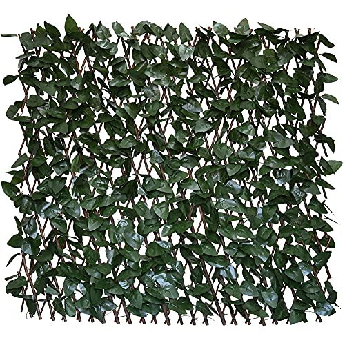 GLANT Expandable Fence Privacy Screen for Balcony Patio Outdoor,Decorative Faux Ivy Fencing Panel,Artificial Hedges (Single Sided Leaves) (1, Dark Green)