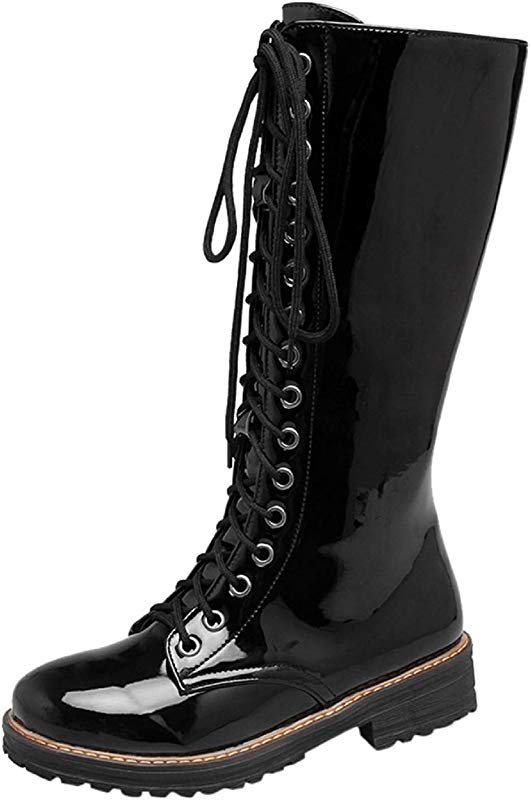 Women Plus Wide Calf Boots Tsmile Retro Lace Up Zip Up PU Leather Round Toe Low Heel Riding Comfortable Booties