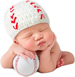 Baby Photography Props Baseball Cap Newborn Boy Girl Photo Shoot Outfits Crochet Costume Infant Knitted Hat Sets
