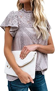 ZXZY Women Cute Lace Blouse Top Short Sleeve Lace Hollow Out Turtle Neck T Shirt