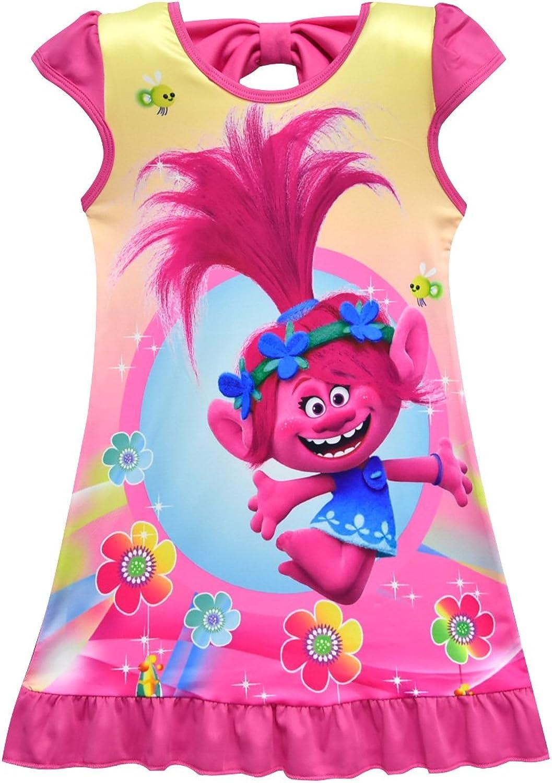 ZHBNN Trolls Girls Dress Loose Pajamas Nightgown