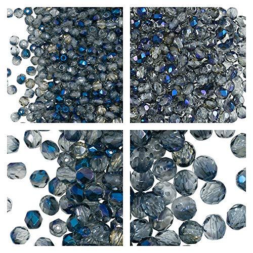 Fuego pulida de vidrio esmerilado perlas iris Blue 3mm abalorios con facetas