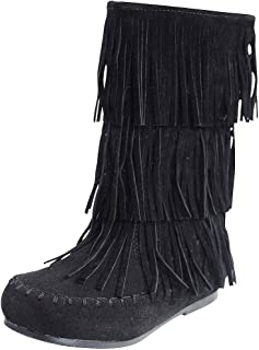 Girls Apache-6 Fringe Moccasin Boots