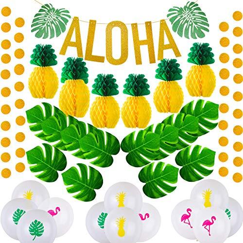 Zonon Decoraciones Hawaianas de la Fiesta de Aloha,Banner de Fiesta Aloha Bandera del Partido Hawaiano Favores Hawaianos de Globos para artículos de Fiesta de Luau Tropical