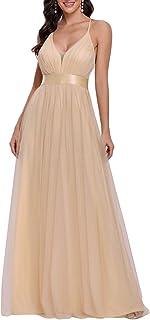 Ever-Pretty Vestiti da Damigella Lungo Elegante Senza Schienale Stile Impero Scollo a V Tulle Donna 00555