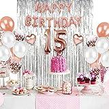 15th Birthday Decorations, Quinceanera Decorations, Latex Balloons Decorations & 12 Inch Balloons, includes 15th Birthday Tiara, Sash, Cake Topper, 15th Birthday Party Supplies, Girl Birthday Balloons