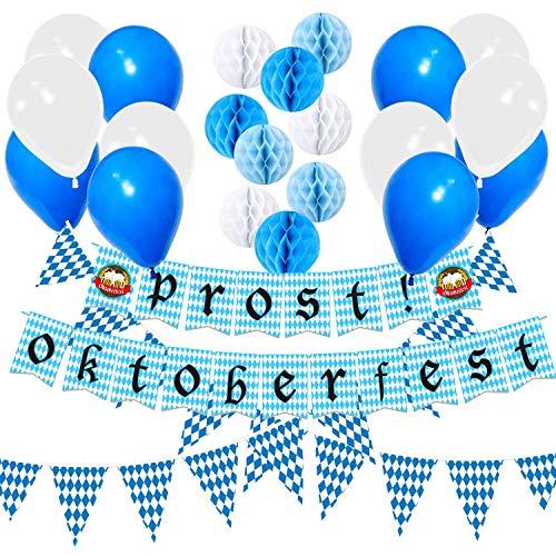 Oktoberfest Party Dekorationen Set,10m Blau/weiße bayrisch Wimpelgirlande, Luftballons,Oktoberfest Girlande Banner für Bayerisches Bier Festival (1)