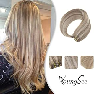 YoungSee 16inch Full Head Clip in Blonde Hair Extensions Piano Color Medium Blonde Highlighted with Golden Blonde Clip on Remy Human Hair Extensions 120Gram 7Pieces