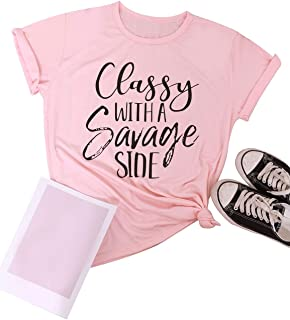 SCX Women Cute Tops Short Classy with A Savage Side O Neck Pink T-Shirt Tee