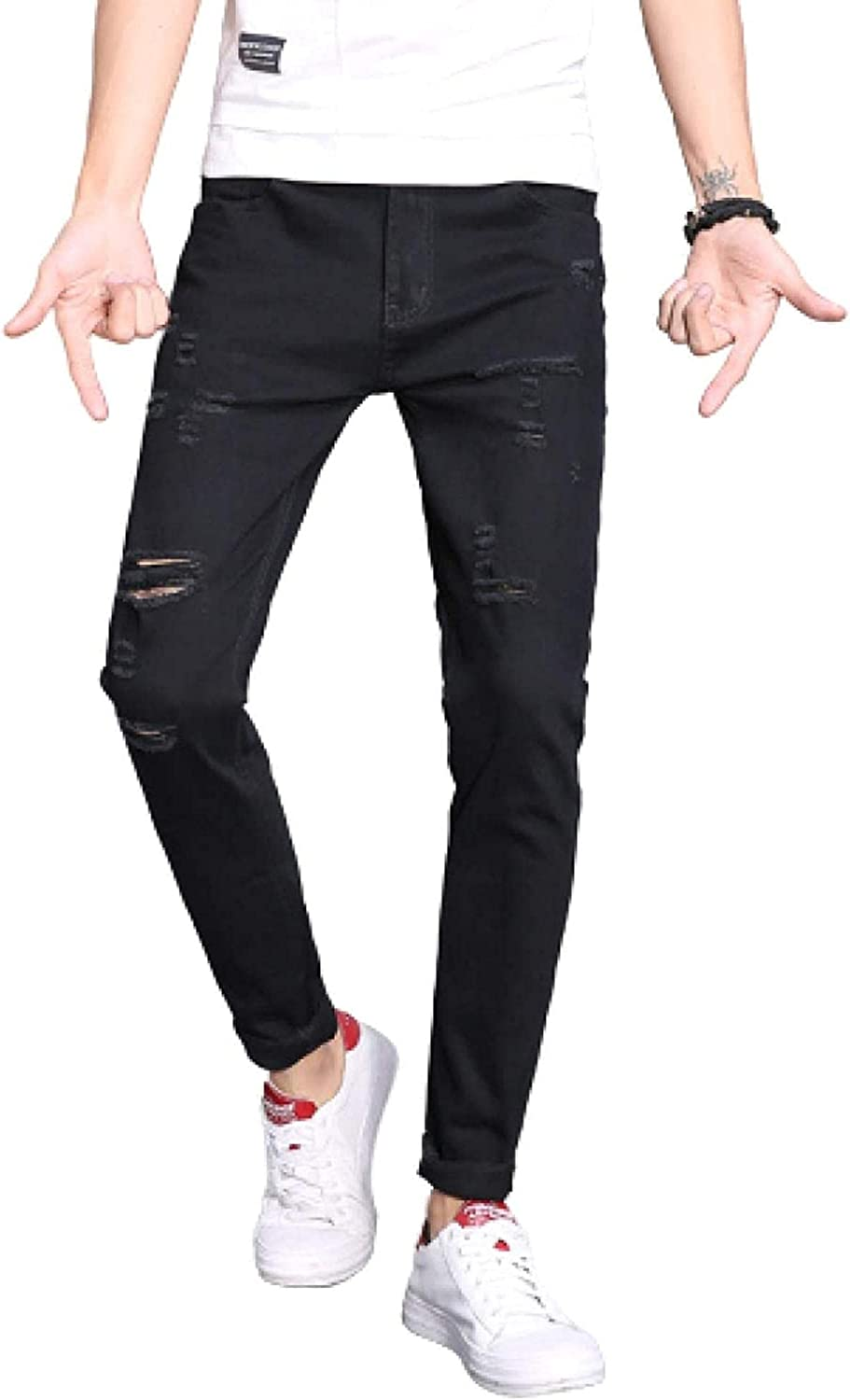 Men's Ripped Jeans Stretch Skinny Slim B Fit Cotton Pants Pencil Challenge the lowest price of Japan Superlatite