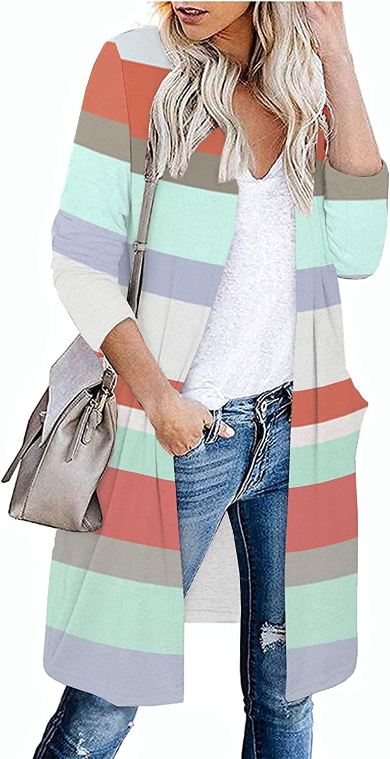 ZDNB 2021 Womens Mid-Length Knitted Open Front Fashion Stitching Striped Print Autumn Winter Sweater Cardigan Outwear