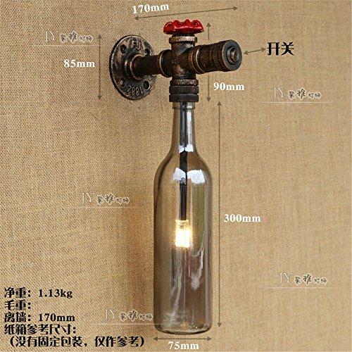 JJZHG Wandlamp Indoor Wandlamp Land retro bar cafe kleding winkel decoratie slang wijnfles wandlamp, rook grijze wijnfles omvat: wandlampen, wandlamp met leeslampje