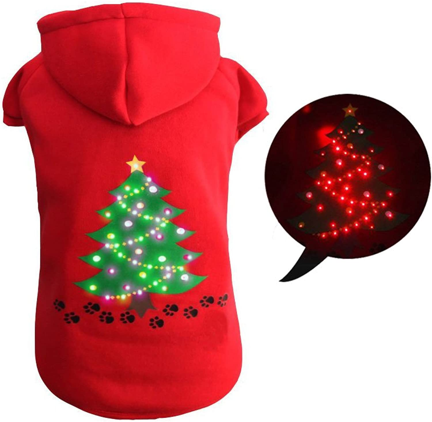 Royalwise Christmas Dog Outfit Lighted up Pet Shirt Dog Costume Puppy Pet Hoodie Clothes LED Holiday Doggie Sweater (M, Red)